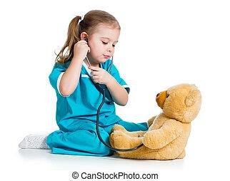 examiner, jouet, teddy, sur, docteur, ours, enfant, blanc, adorable, vêtements
