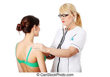 examiner, mûrir, docteur féminin