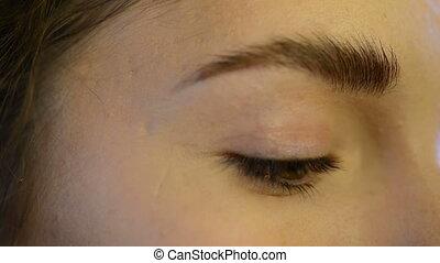 examiner maquillage, haut, sourcil, intérieur, vert, fin, modèle