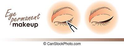 examiner maquillage, procédure, microblading, illustration.,...
