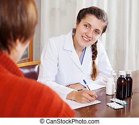 examiner, patient, docteur féminin