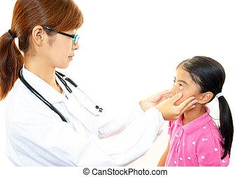 examiner, patient, docteur