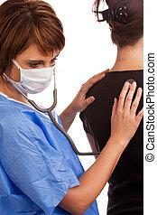 examiner, patient, docteur, stéthoscope, femme, utilisation