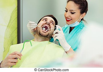 examiner, patient, fonctionnement, femme, dentistes, mâle
