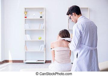 examiner, peau, patient, docteur féminin