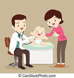 examiner, peu, docteur, pédiatre, maman, bébé