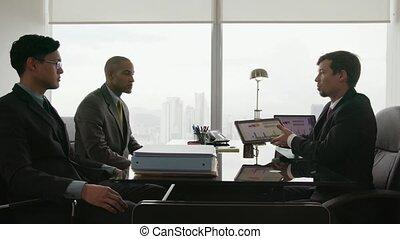 examiner, professionnels, équipe, diagrammes, conseiller, 9, réunion