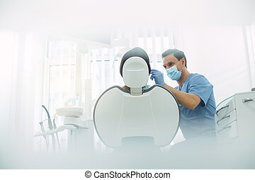 examiner, sien, enchanté, dentiste, dents, mâle, malades