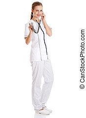 examiner, stéthoscope, docteur féminin