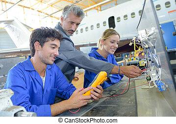 examining an aircraft