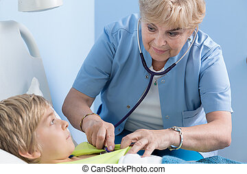 examining, child's, школьник, врач