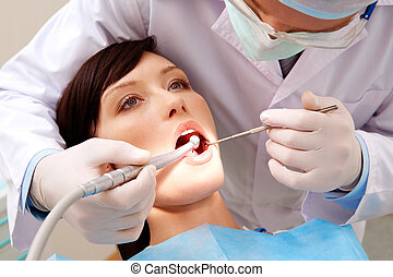 Examining oral cavity - Image of young woman keeping her ...