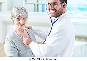 Examining patient