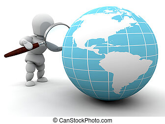 3D render of someone looking at a globe through a magnifying glass