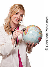 Examining the world - Attractive friendly smiling blond lady...
