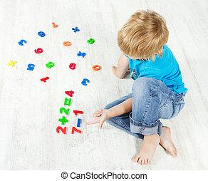 example., dall'aspetto, answer., risolvere, bambino, matematica