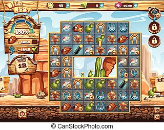 Example of the playing field for the game wild west three in a row
