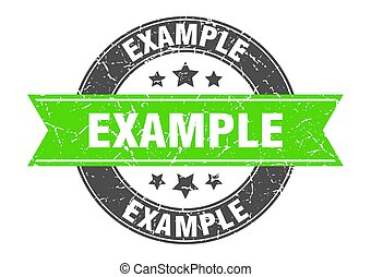 example round stamp with green ribbon. example