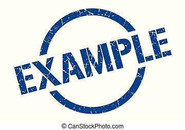 example stamp - example blue round stamp