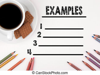 Examples blank list. White desk with a pencil and a cup of coffee