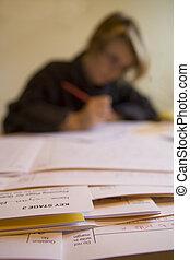 exams., mancha, joven, maestra