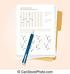 exams quiz test paper with pencil multiple choice