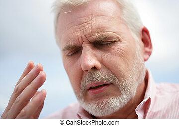 Exasperated older man