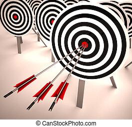 exatidão, alvo, objetivo, triplo, habilidade, mostra