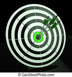 exatidão, dardo, objetivo, triplo, habilidade, mostra