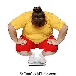 excès poids, femmes, sur, balances