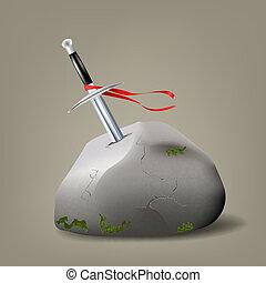 Excalibur, King Arthur.  - Vector illustration