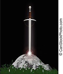 Excalibur King Arthurs sword in the stone with the heavenly...