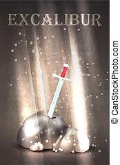 Excalibur sword in the stone