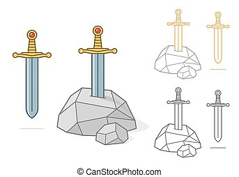 Excalibur theme sword and stone - Vector illustration of...
