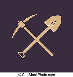 excavación, minería, plano, símbolo., pico, cavar, cruce, icon., pala