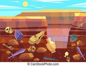 excavaciones, paisaje, arqueológico, desierto