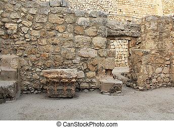 excavado, beth, ruinas, piscina