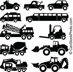 excavador, camión, furgoneta, limusina, camión