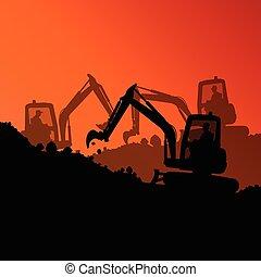 excavador, cargador, hidráulico, máquina