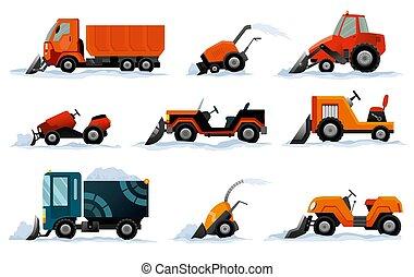 excavador, excavadora, camión, conjunto, removers., works., aislado, snowblower, camino, nieve blanco, quitanieves, tractor, mini, equipo, transporte, arado, fondo.