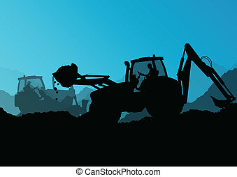 excavador, excavadora, cargadores, tractores, y,...