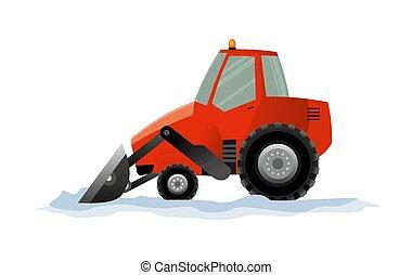 excavador, snowblower, works., limpia, fondo., blanco, excavadora, transporte, quitanieves, equipo pesado, aislado, camino, snow.