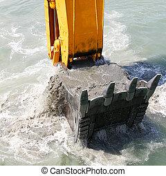 excavador, tierra, cubo, arriba, escoge, agua, fondo del mar