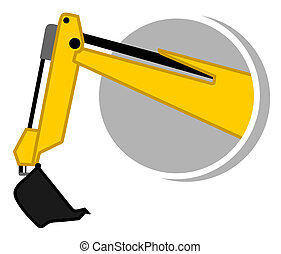 excavadora, brazo, icono