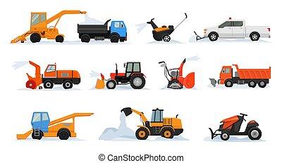excavadora, conjunto, transporte, invierno, excavador, quitanieves, el quitar, nevoso, aislado, ilustración, nieve, equipo, snowblower, vector, camión, limpieza, plano de fondo, vehículo, blanco, eliminación, tractor