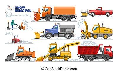 excavadora, conjunto, transporte, invierno, excavador, quitanieves, el quitar, nieve, ilustración, aislado, máquina, equipo, snowblower, vector, camión, limpieza, plano de fondo, vehículo, blanco, eliminación, tractor