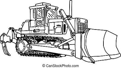 excavadora, excavador, isolated., ilustración, cargador, máquina, vector, doodles, dibujado, mano