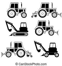 excavadora, fin, excavador, aislado, vector, blanco