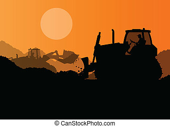 excavadora, industrial, excavador, sitio, ilustración,...