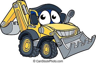 excavateur, bulldozer, caractère, dessin animé